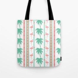 Art Deco Palm Trees and Flamingos Tote Bag