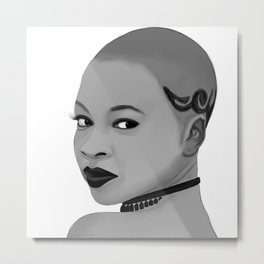 Illustration of Danai Gurira Metal Print