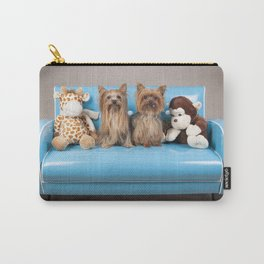 Dogs on retro blue couch Carry-All Pouch