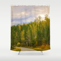 ashton irwin Shower Curtains featuring Ashton Idaho - The Road Less Traveled by IMAGETAKERS