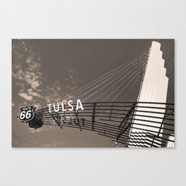 Tulsa Oklahoma Route 66 Neon Googie Style Street Art Sign - Sepia Canvas Print
