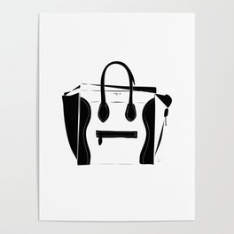 Black and White Luggage Handbag Tote Pattern Poster