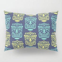 Tiki Pattern Blue & Chartreuse Pillow Sham