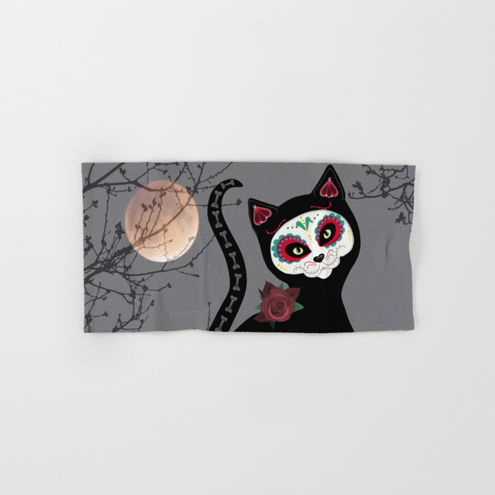 Day of the Dead Cat Hand & Bath Towel