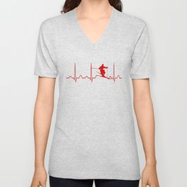 SKIING MAN HEARTBEAT Unisex V-Neck