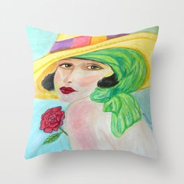 Lady With The Yellow Hat Throw Pillow