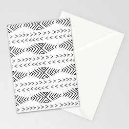 Mudcloth black and white linocut pattern geometric minimal modern trendy design Stationery Cards