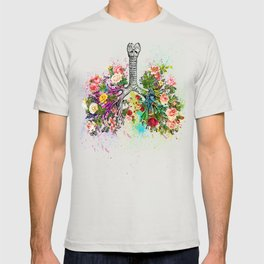Flowers Lungs Skeleton Watercolor T-shirt