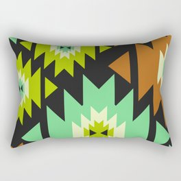 Ethnic shapes in green and brown Rectangular Pillow
