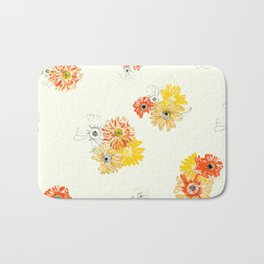 Sun Flowers Floral Pattern Bath Mat