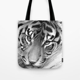 Tiger - Black and White Tote Bag