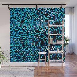 Turquoise Blue Aqua Pixels Wall Mural
