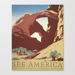 Arches National Park Vintage Travel and Tourism Poster, 1939 Canvas Print