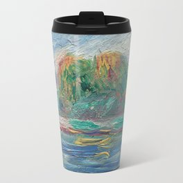 The Blue River Oil Painting by Auguste Renoir Travel Mug