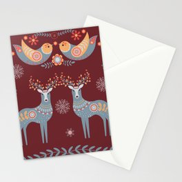 Nordic Winter Red Stationery Cards
