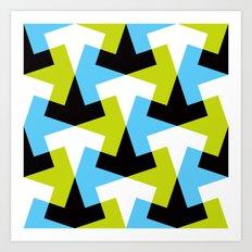 Geometric pattern (green + blue) Art Print