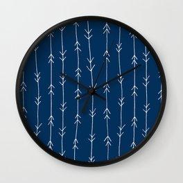 Arrow Pattern: Navy Blue Wall Clock