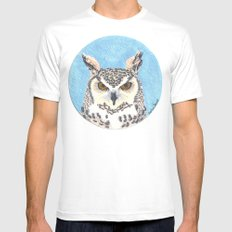 great horned owl Mens Fitted Tee MEDIUM White
