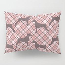 PINK TARTAN WEIMARANER Pillow Sham