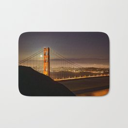 GOLDEN GATE BRIDGE & MOON PHOTO - SAN FRANCISCO NIGHT IMAGE - CALIFORNIA PICTURE - CITY PHOTOGRAPHY Bath Mat