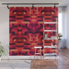 Abstract red geometric triangle texture pattern design (Digital Futrure - Hipster / Fashion) Wall Mural