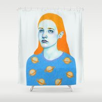saturn Shower Curtains featuring Saturn Girl by Natalie Foss