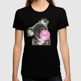 Playful Koala Bear with Bubble Gum in Green T-shirt