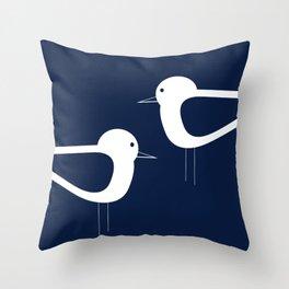 Shorebird Pair - Minimalist Beach Birds in White and Nautical Navy Blue Throw Pillow