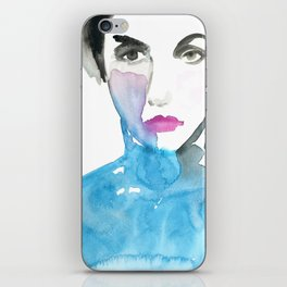 Pink Lipstick: Watercolor painting of woman in turquoise iPhone Skin