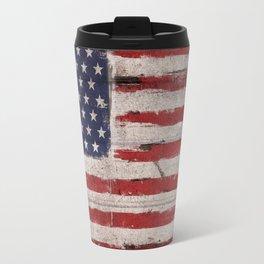 American flag Grunge Wood Travel Mug