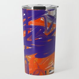 Purple, Orange & White Abstract Travel Mug