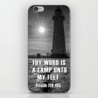 bible verse iPhone & iPod Skins featuring Bible verse - Donaghadee Lighthouse by cmphotography