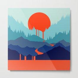 Red Sun Rising Metal Print