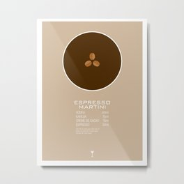 Espresso Martini Cocktail Recipe Poster (Metric) Metal Print