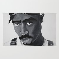 tupac Area & Throw Rugs featuring Pop Cult™ - Tupac 2 by Lina Barbarin - Pop Cult™ & Aminals™