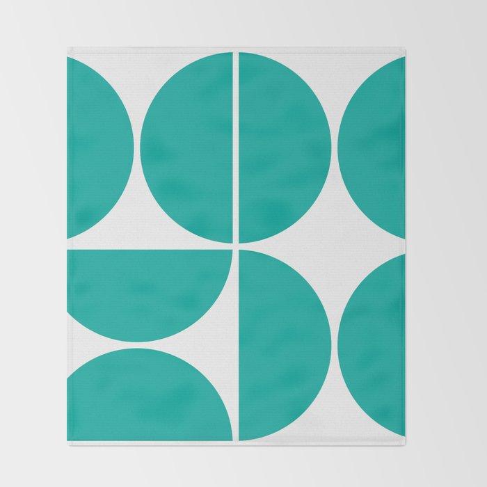 Mid Century Modern Turquoise Square Throw Blanket