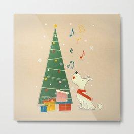 Festive Dog and a Christmas Tree Metal Print