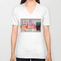 austin V-neck T-shirts featuring Austin, TX by Black Oak ATX