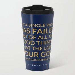 Joshua 23:14 Bible Verse - Navy Gold Metal Travel Mug