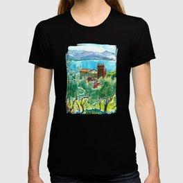 View of the sea and Monastery of Santa Croce, Liguria T-shirt