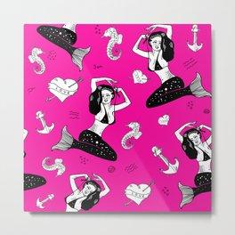 Mermaid, sea, seahorse, heart, anchor nautical pattern in pink. Metal Print