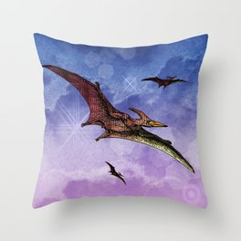 Flying Pterodactyls in the Sky Throw Pillow