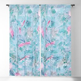abstract 2, light blue with pink pattern Blackout Curtain