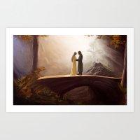 aragorn Art Prints featuring Arwen and Aragorn by Trent Kühn
