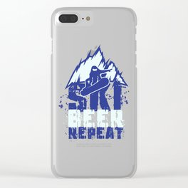 Ski Beer Repeat - Funny Apres Ski Gifts Clear iPhone Case