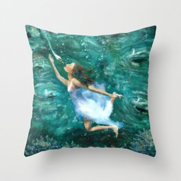 Seven Swans a Swimming Throw Pillow
