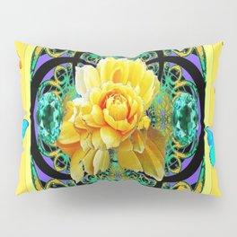 Butter Yellow Aqua  Butterflies Yellow Rose Art Pillow Sham