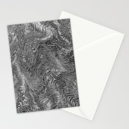 black and white curly line drawing abstract background Stationery Cards