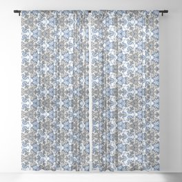Angry Floral Stitches Sheer Curtain