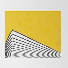 Minimal geometric building city - yellow/black Throw Blanket